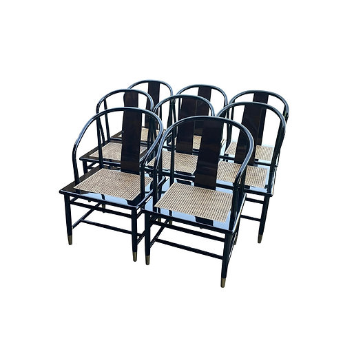 Lacquered Asian Style Dining Chairs by Henredon