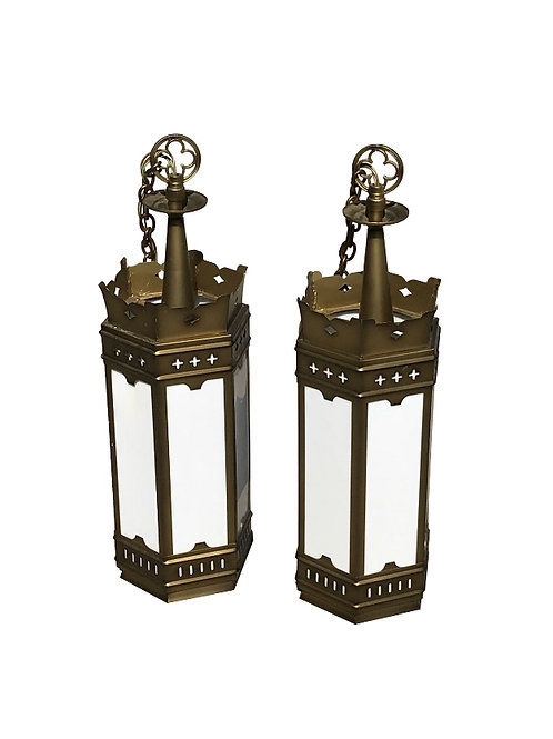 1960s Large Gold and Milk Glass Cathedral Gothic Revival Lanterns - a Pair