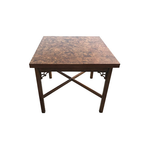1960s Chinese Patchwork Burl Wood Flip Top Dining Table