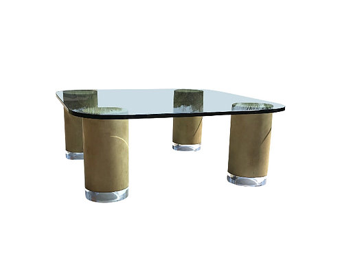 Mid Century Modern Faux Finish and Lucite Cylinder Column Square Coffee Table