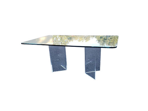 1980s Art Deco Angled Lucite Pedestal Dining Table