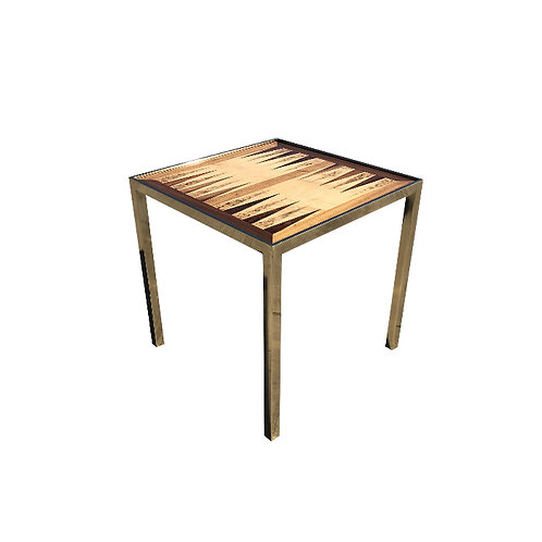 Hollywod Regency Brass and Burl Wood Game Table