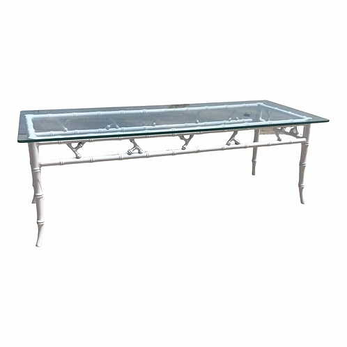 Chinoiserie Faux Bamboo Coffee Table in the Style of Maison Baques