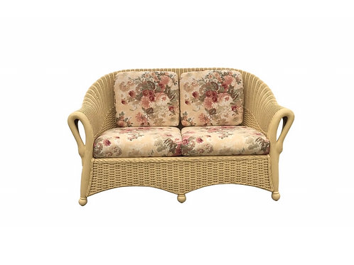 Victorian Swan Arm Bamboo and Wicker Settee