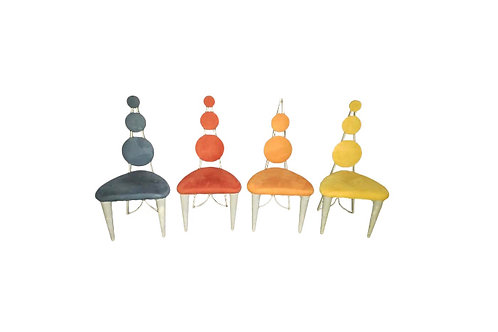 Memphis Postmodern Style Dining Chairs- Set of 4