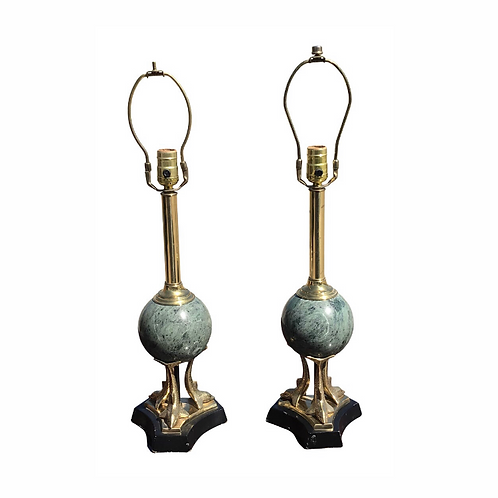 Brass and Marble Sculptural Dolphin Table Lamp - a Pair