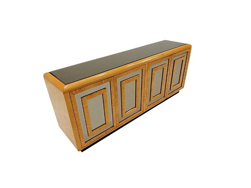 1970s Romweber Mirrored Burl Wood Buffet Cabinet