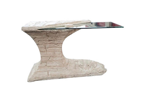 1970s Postmodern Faux Rock Plaster Console Table