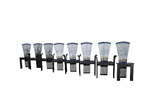 1970s Vintage Pietro Costantini Tall Fan Back Black Lacquered Dining Chairs - Se