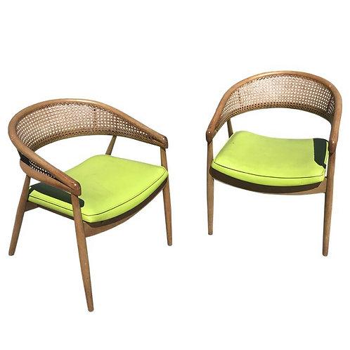 THONET James Mont Bent Wood & Cane Armchairs - A Pair