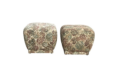 Karl Springer Style Souffle Ottomans or Poufs - a Pair
