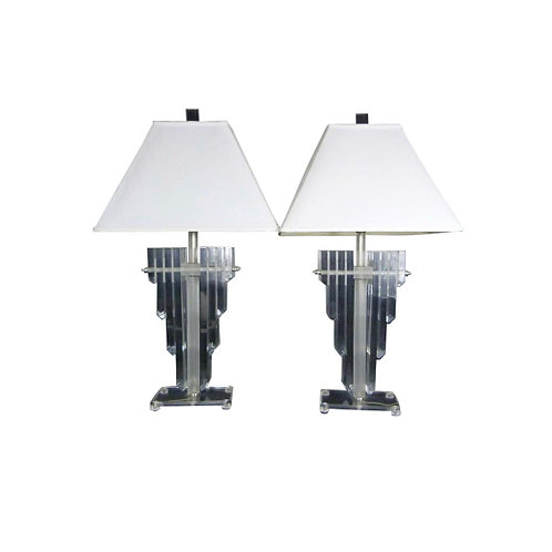 1970s Vintage Hollywood Regency Lucite Shield Form Lamps - a Pair