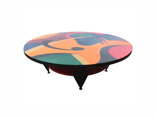"Benjamin Le ""Lively"" Abstract Mid-Century Modern Painted Coffee Table"