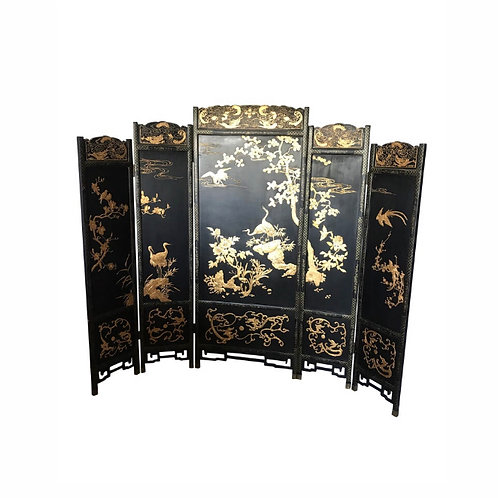 Asian Lacquer Screen Room Divider Coromantel 5 Panel