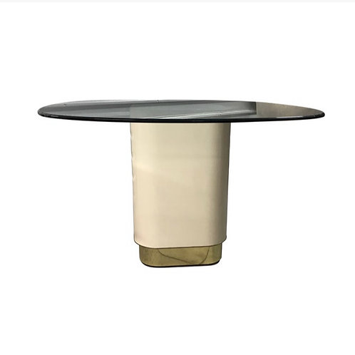 Vintage Mid Century Modern Laminate and Brass Pedestal Table