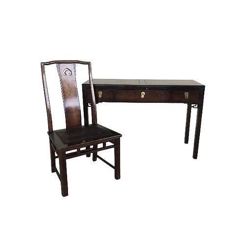 White Fine Furniture Chinoiserie Style Desk and Chair