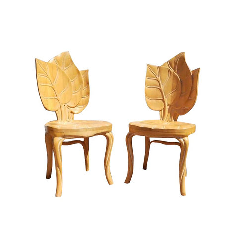 1960s Vintage French Art Nouveau Sculptural Leaf Chair