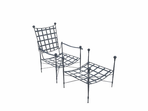Mario Papperzini for Salterini Italian Wrought Iron Reclining Arm Chair and Otto