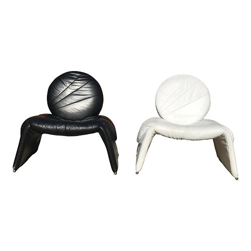 Black and White Vintage Leather Italian Lounge Chairs - a Pair
