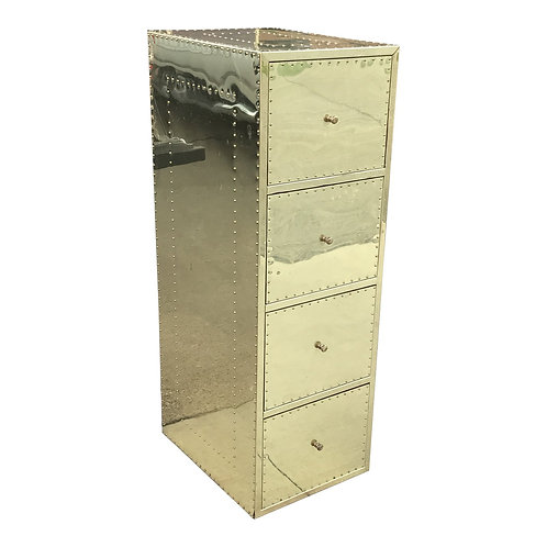 1970s Mid Century Modern Brass Studded Four Drawer Filing Cabinet ( 2 Available)