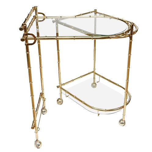 1960s Chippendale Maison Jansen Brass Faux Bamboo Swivel Bar Cart