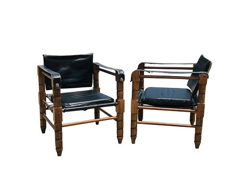 Black Leather Safari Chairs- a Pair