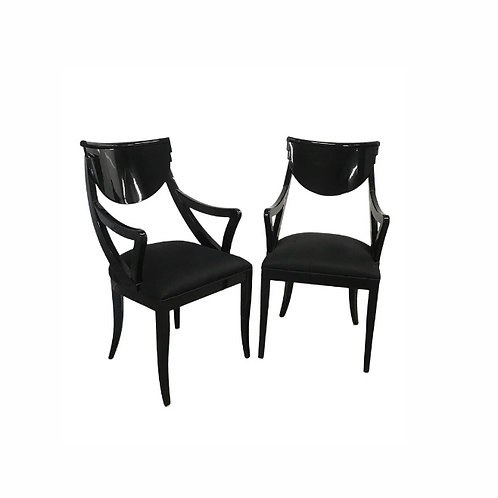 1980s Vintage Pietro Costantini Gondola Lacquered Dining Armchairs-A Pair