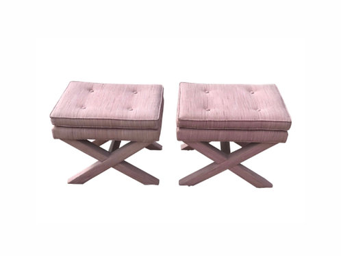 1970s Vintage Billy Baldwin Upholstered X Base Ottomans - a Pair