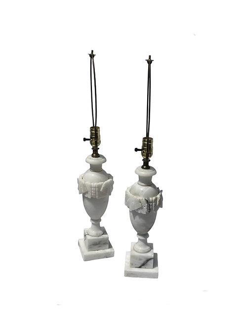 Italian Neoclassical Alabaster Lamps - a Pair