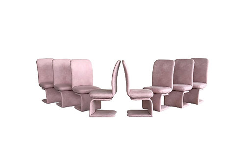 1990s Vintage Milo Baughman for Carsons Rolling Swivel Dining Chairs Set of 8