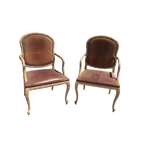 Vintage Mid Century Italian Hand Carved Wood Armchairs- a Pair