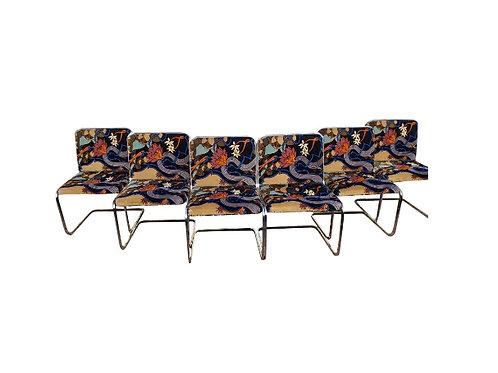 1960s Vintage Jack Lenor Larsen Upholstered Brueton Cantilevered Chrome Dining C