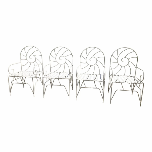 Art Nouveau Nautilus Shell Back Wrought Iron Arm Chairs