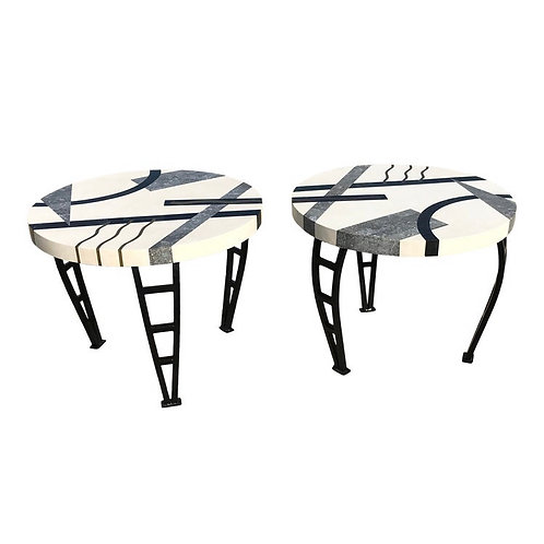 Memphis Marble and Brass Inlay End Tables - a Pair