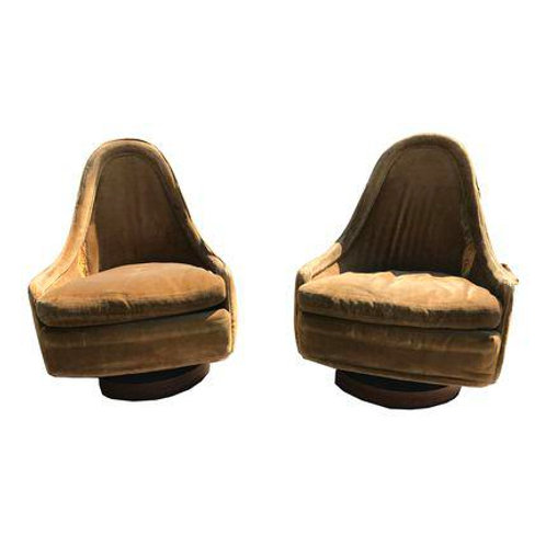 Pair of Petite Modern Swivel Slipper Lounge Chairs by Milo Baughman for Thayer C