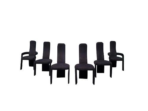 1980s Vintage Sculptural Postmodern Dining Chairs -Set of 6
