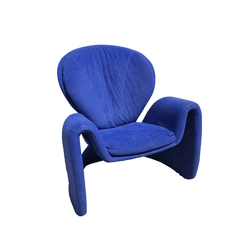 1980s Vintage Post Modern Curvy Accent Chair