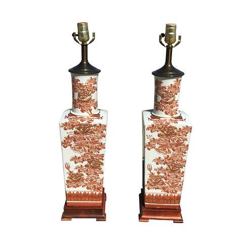White Coral Porcelain Vase Table Lamps - a Pair
