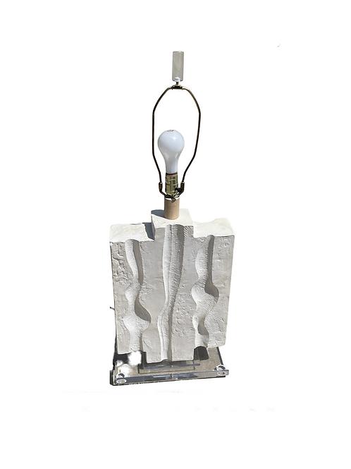 Monumental Sculptural Plaster Lamp on Lucite Base