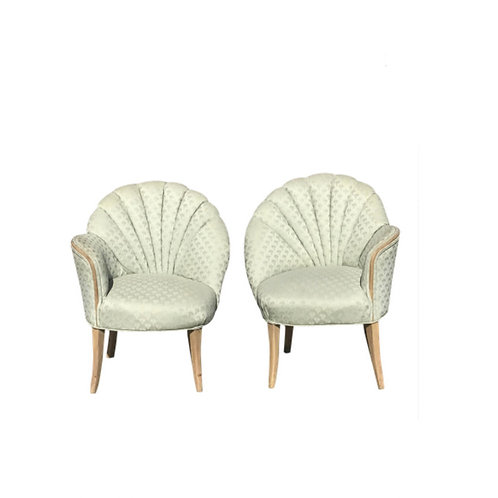 1920's Vintage Art Deco Shell Back Boudoir Chairs- A Pair