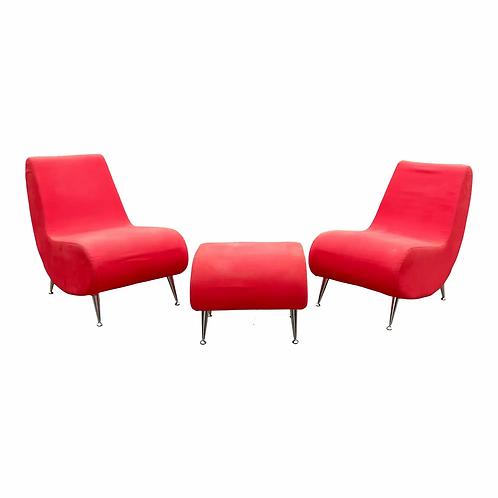 Mid Century Modern Lounge Chairs & Ottoman