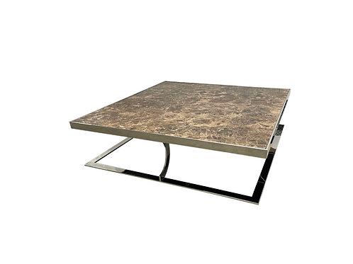 Monumental Milo Baughman Style Curved Flat Bar Italian Marble Coffee Table
