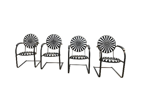 Francois Carre French Sunburst Garden Chairs Circa 1930 - Set of 4