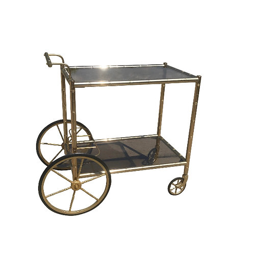 Mid Century Brass Faux Bamboo Form Bar Cart