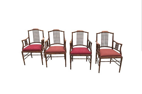 Captiva Collection Faux Bamboo Wood Dining Chairs by Drexel- Set of 4