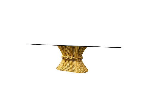 McGuire Oval Sheaf of Wheat Bamboo Pedestal Dining Table With Rectangular Glass