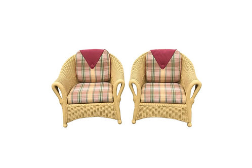 Victorian Swan Arm Bamboo and Wicker Chairs - a Pair