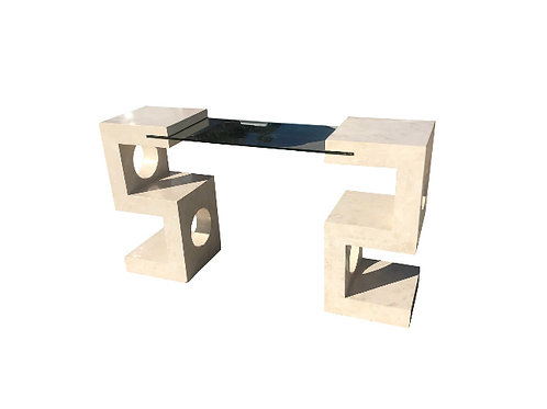Postmodern Tessellated Stone and Glass Console Table