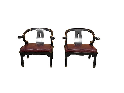 1960s Vintage Ming James Mont for Century Furniture Black Lacquered Yoke Chairs