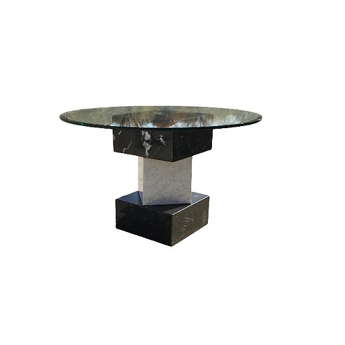 Modern Stacked Marble Cube Dining Table With Glass Top